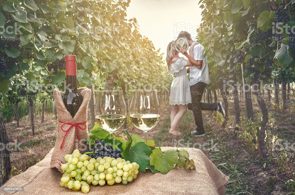 bottle of wine, vine and glass of wine stock photo