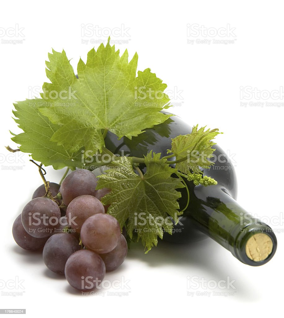 bottle of wine with grape vine leafs stock photo
