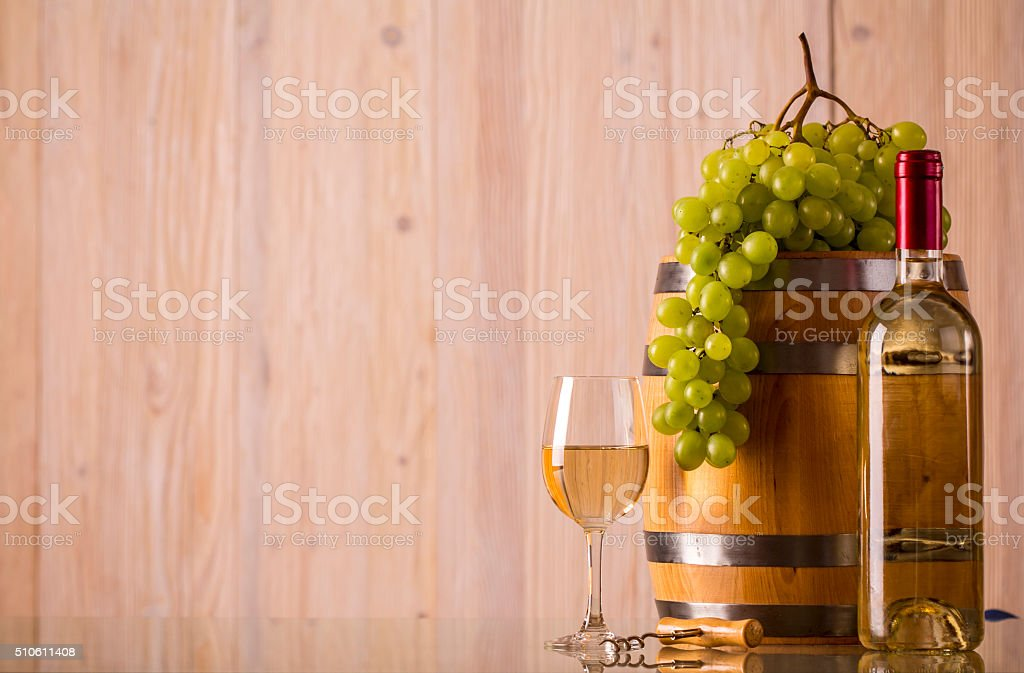 Bottle of wine with light background stock photo