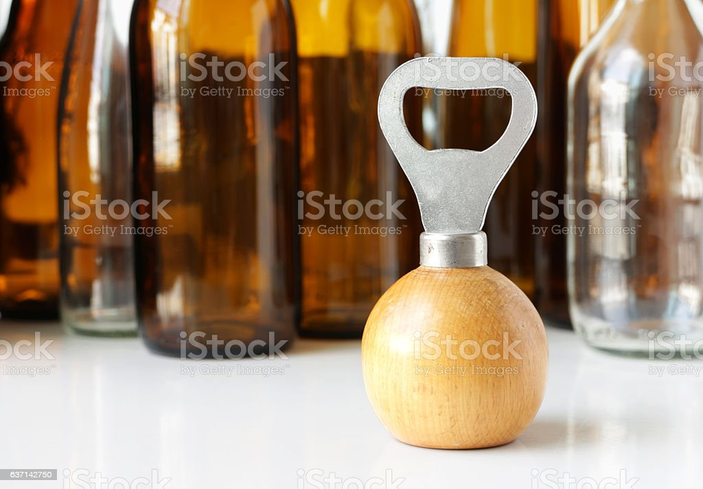 Bottle Opener Wooden Handle stock photo