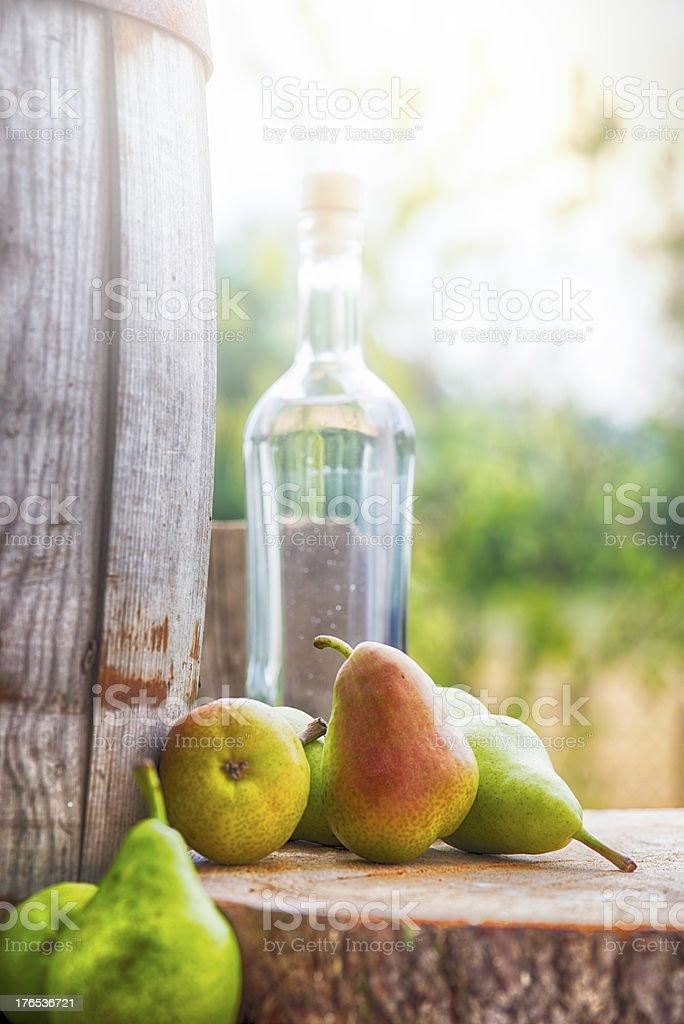 Bottle Pear Fruit Brandy  Birnenschnaps royalty-free stock photo
