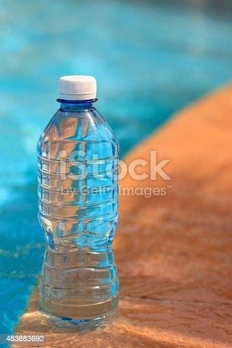 PET (PETE Polyethylene Terephthalate) water bottle. Shallow depth of field. Nice bokeh.