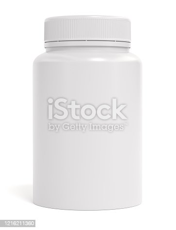 bottle pills isolated white background 3d rendering