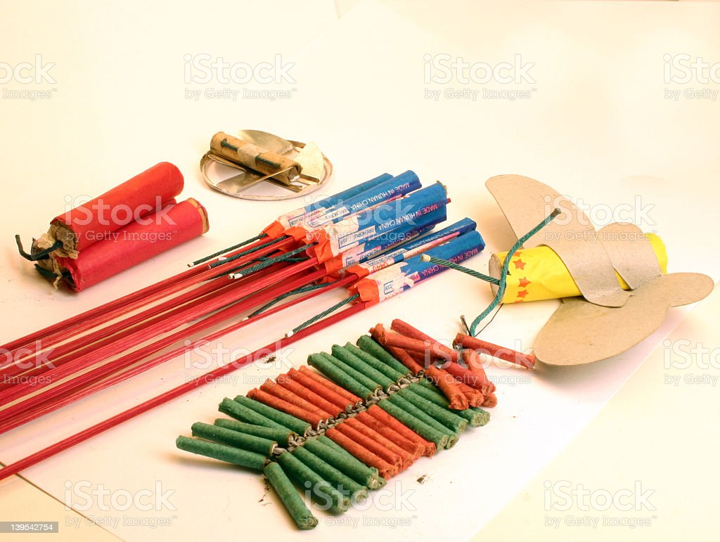 Bottle rockets and other fireworks royalty-free stock photo