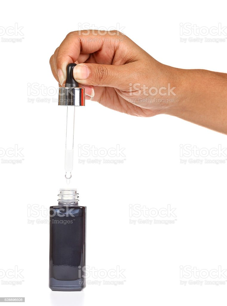 Bottle with a pipette for a facial serum. stock photo