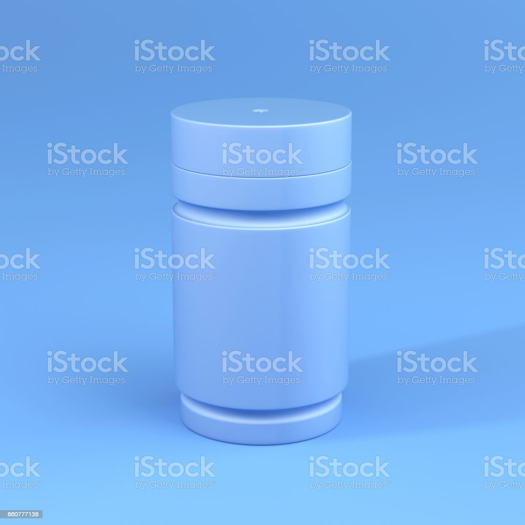 A Bottle with Blue color Theme, Minimal concept. stock photo