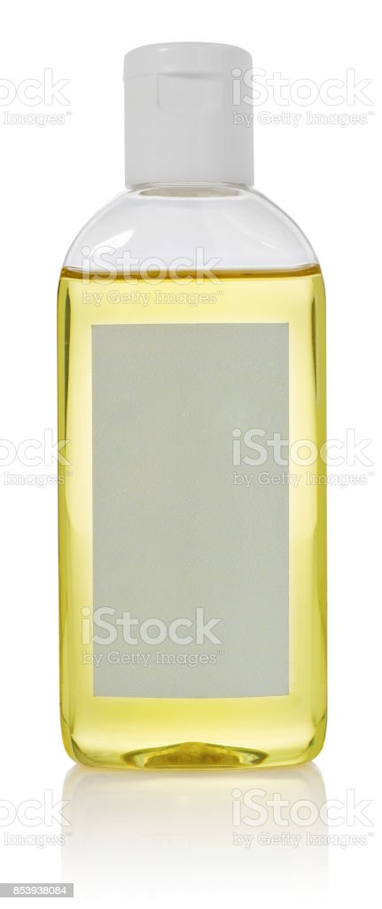Bottle with body care essential oil. Container with a dispenser and empty label. stock photo