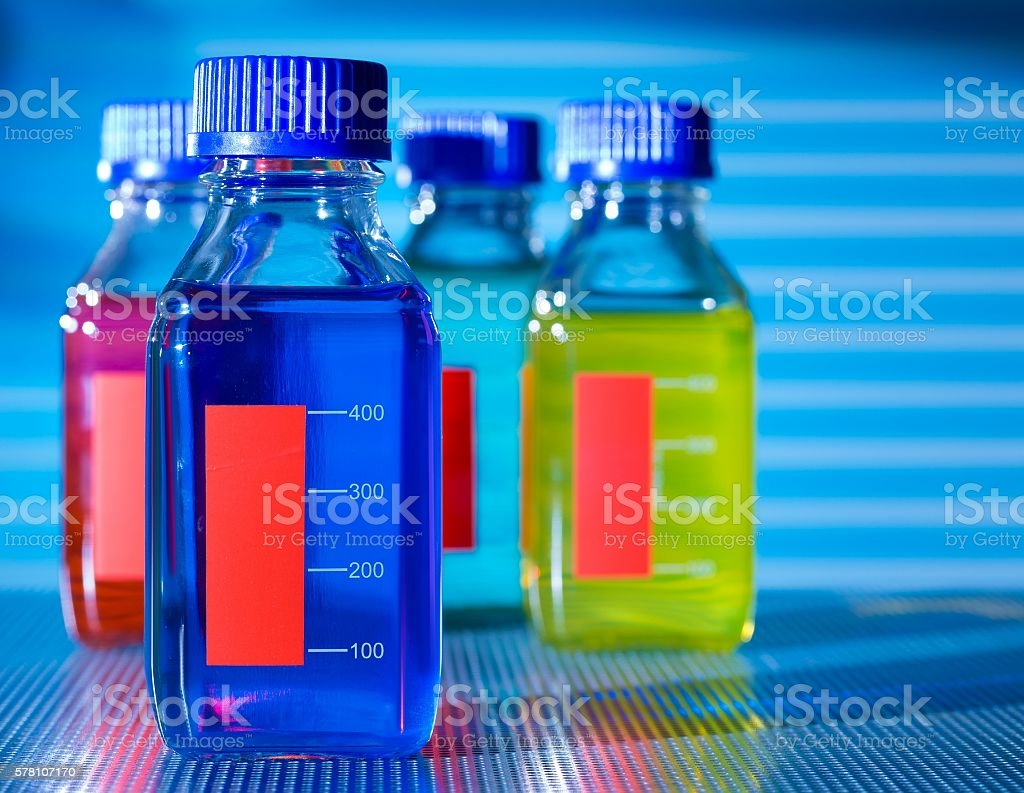 bottle with chemical additives stock photo