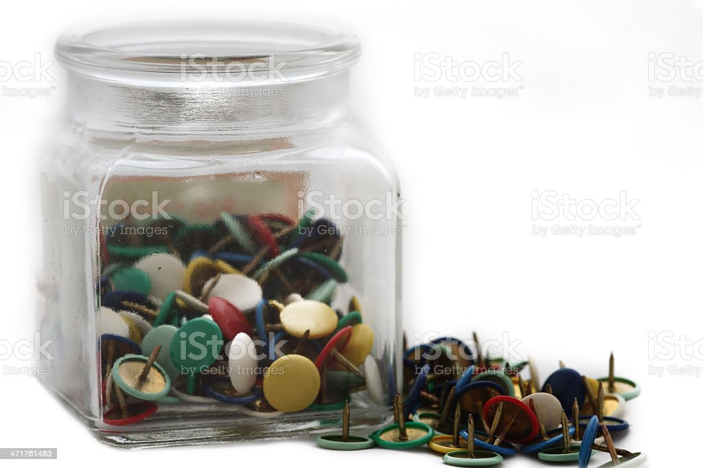 bottle with colorful pins royalty-free stock photo