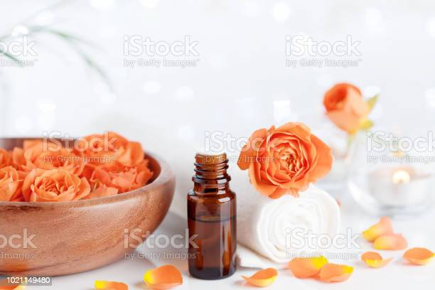Bottle with essential aromatherapy oil from rose flowers spa and picture id1021149480?b=1&k=6&m=1021149480&s=612x612&h=1dsnkbze vcgnkr dg2rflv443nj kygao5ucx 9z60=