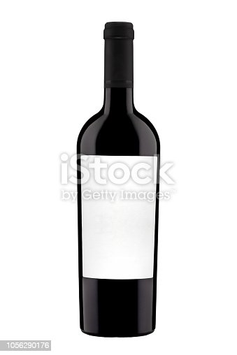 bottle with label of red wine isolated on white background. Close-up.
