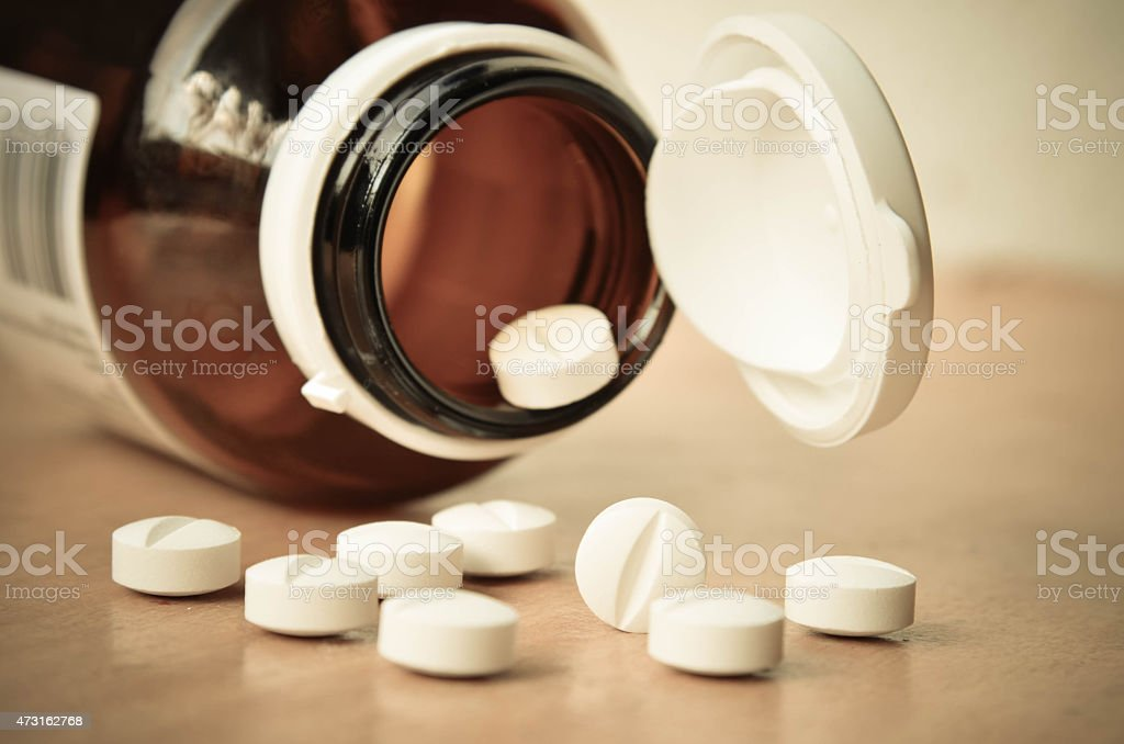 bottle with pills stock photo