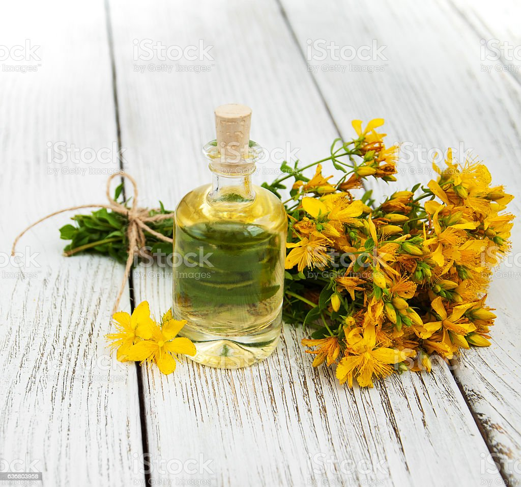 Bottle with St. John's wort extract stock photo