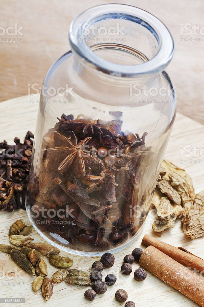 bottle with various spices royalty-free stock photo