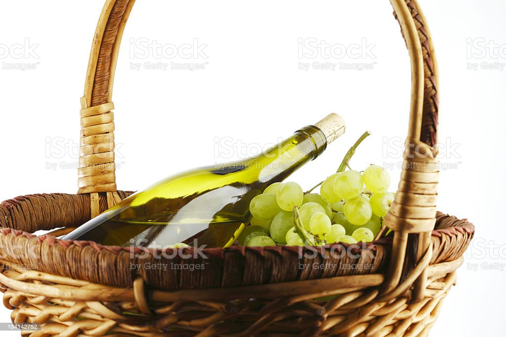 bottle with white wine and grapes royalty-free stock photo