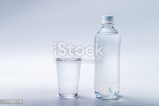 Bottled water and glass water