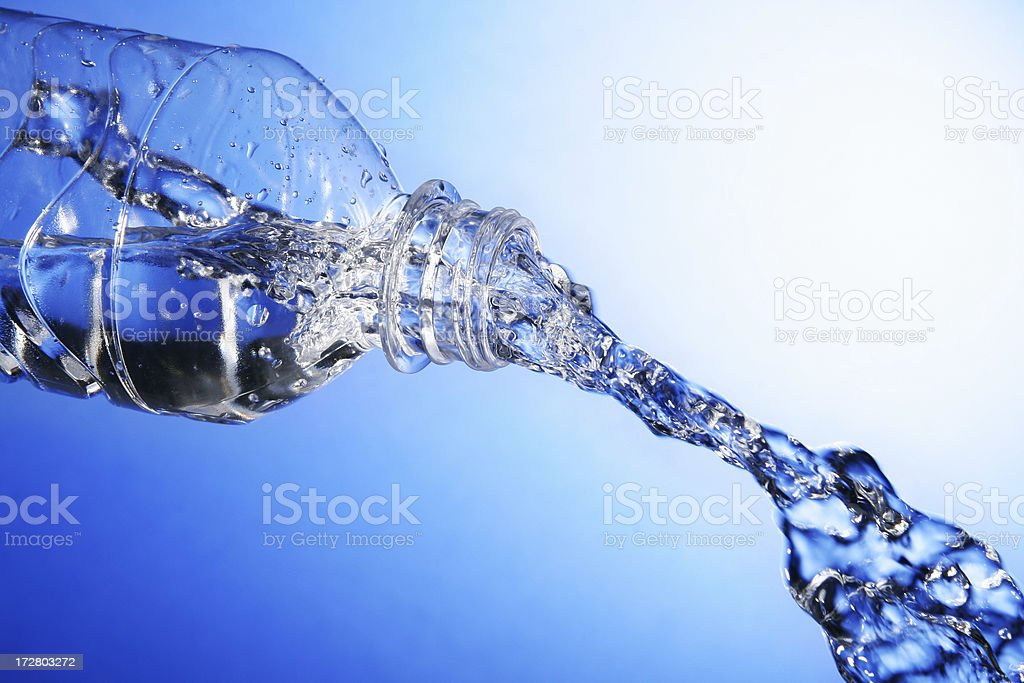 Bottled Water in Motion royalty-free stock photo