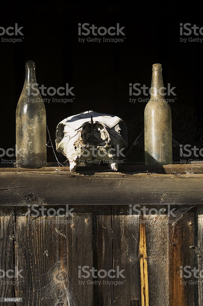 Bottles And Dead head stock photo