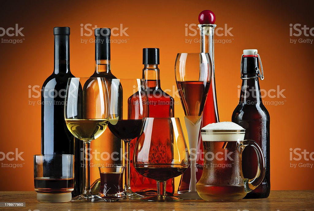 Bottles and glasses of alcohol drinks royalty-free stock photo