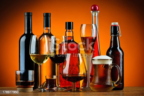 istock Bottles and glasses of alcohol drinks 176977950