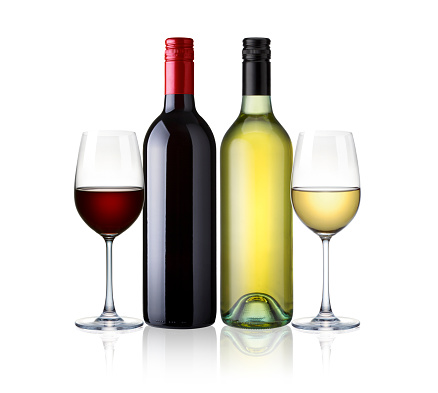 bottles and glasses of white and red wine isolated on white background. red and white wine, mix two kind of wine with clip path