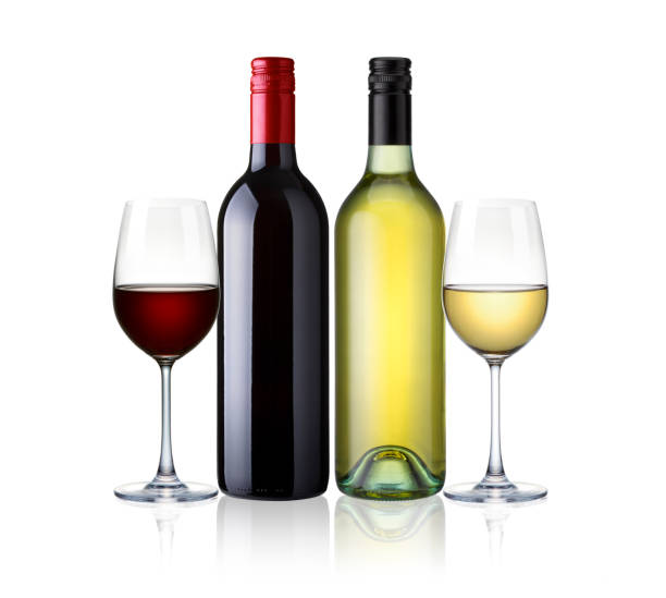 bottles and glasses of white and red wine isolated on white background. red and white wine, mix two kind of wine with clip path stock photo