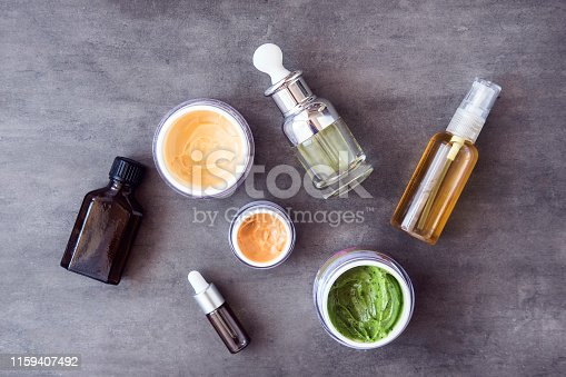 istock Bottles and jars with natural cosmetics 1159407492