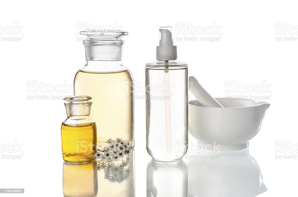 bottles and tools for herbal medicine stock photo