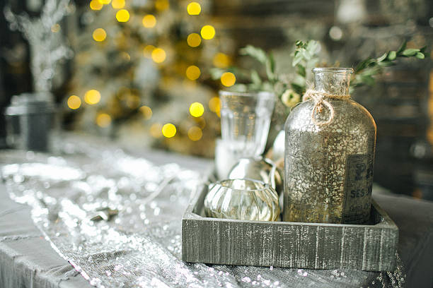 Bottles and tree toys in vintage Christmas decorated room – Foto