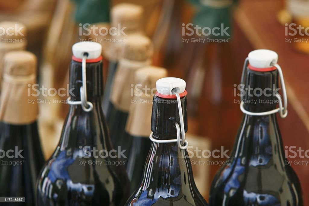 Bottles at market stall royalty-free stock photo