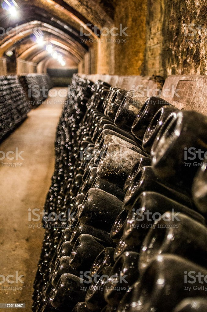 bottles in a cellar cava vino espumoso champan champagne stock photo