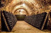 bottles in a cellar horizontal