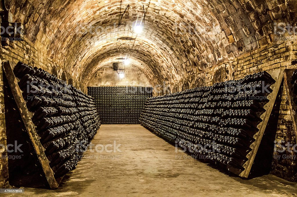 bottles in a cellar horizontal stock photo