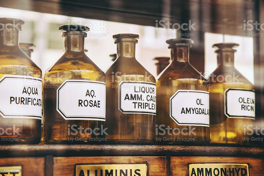 Bottles in an old pharmacy stock photo