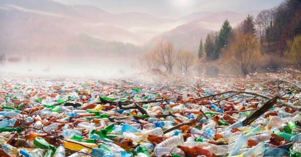 Bottles in the reservoir mountain stock photo