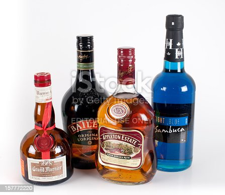 Yellowknife, Canada - February, 21 2011: Assorted bottles of hard liquor alcohol.  These include Grand Marnier, Baileys, Appleton Estates and Sambuca.