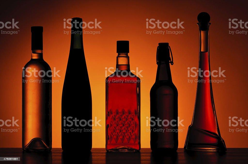 Bottles of alcoholic drinks royalty-free stock photo