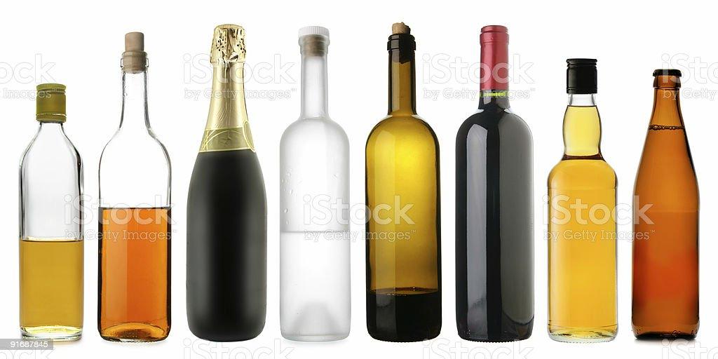 Bottles of alcoholic drinks stock photo