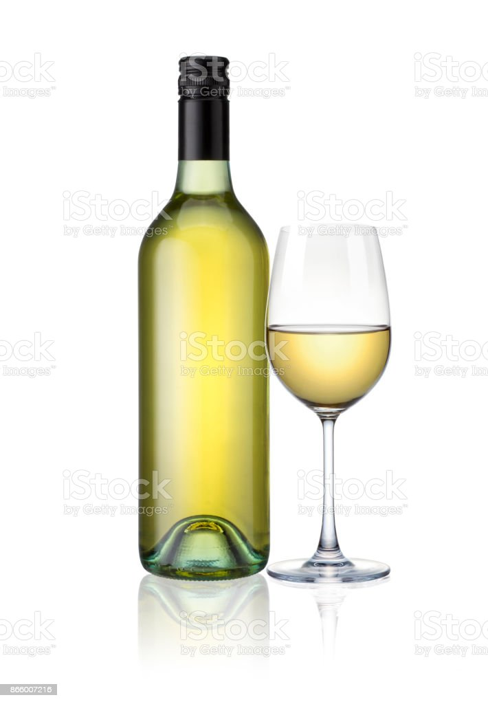 bottles of and glasses white wine isolated on white background with clip path stock photo