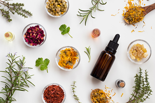 istock Bottles of essential oil with herbs and flowers on a white background 907874168