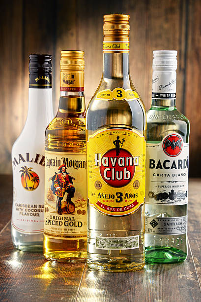 Bottles of famous global rum brands stock photo