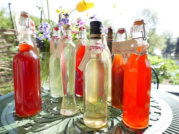 Bottles of home made organic juice stock photo