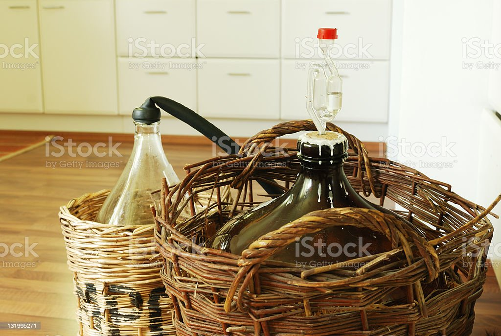 bottles of homemade wine stock photo