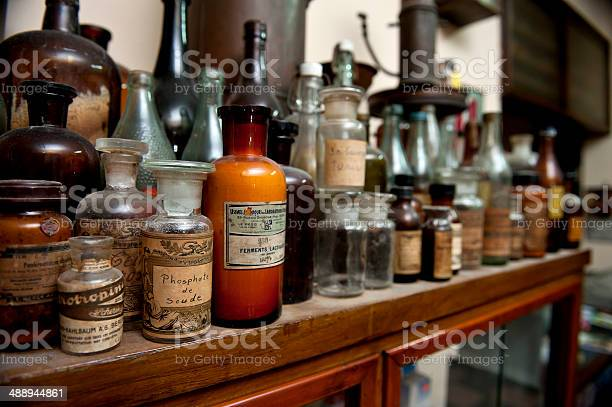 Bottles Of Ingredients For Pharmacy Stock Photo - Download Image Now