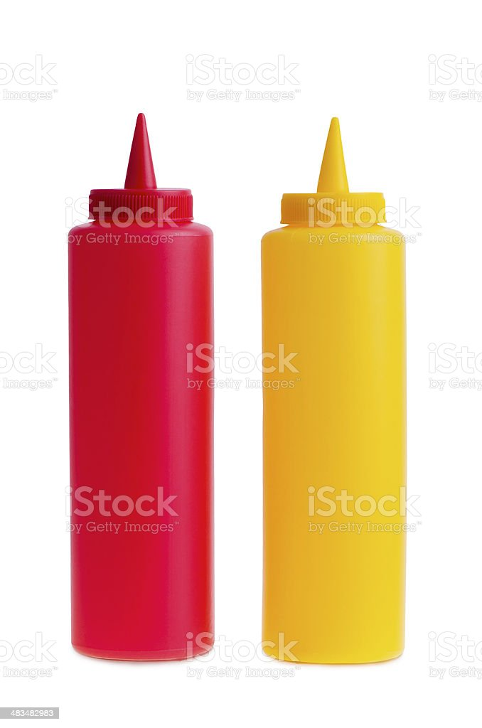 Bottles of Ketchup and Mustard. stock photo