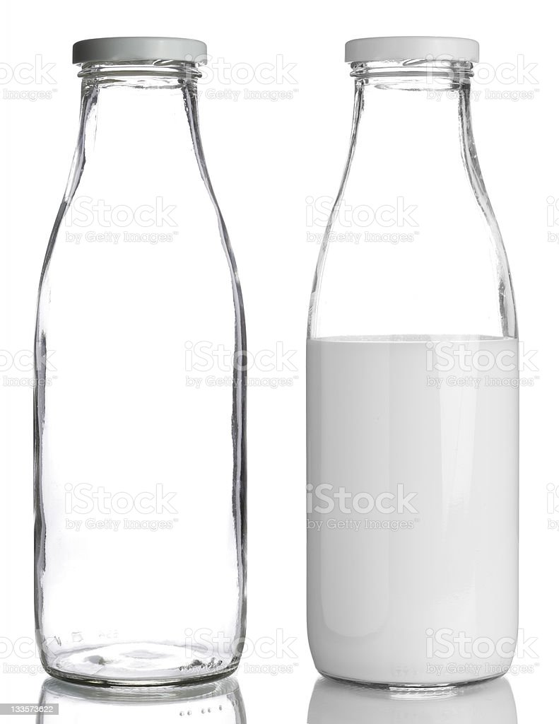 bottles of milk stock photo