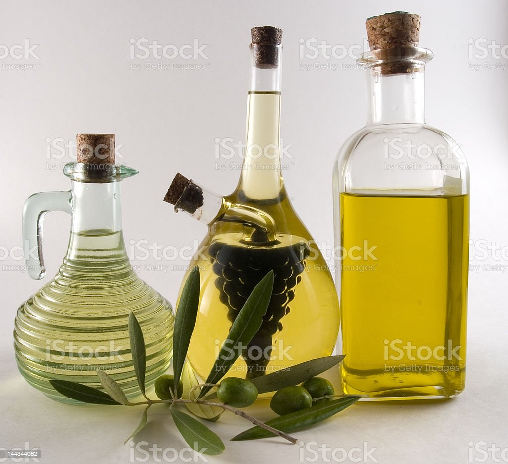 bottles of olive oil and vinegar royalty-free stock photo