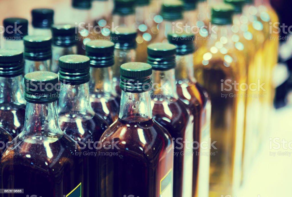 Bottles of olive oil stock photo