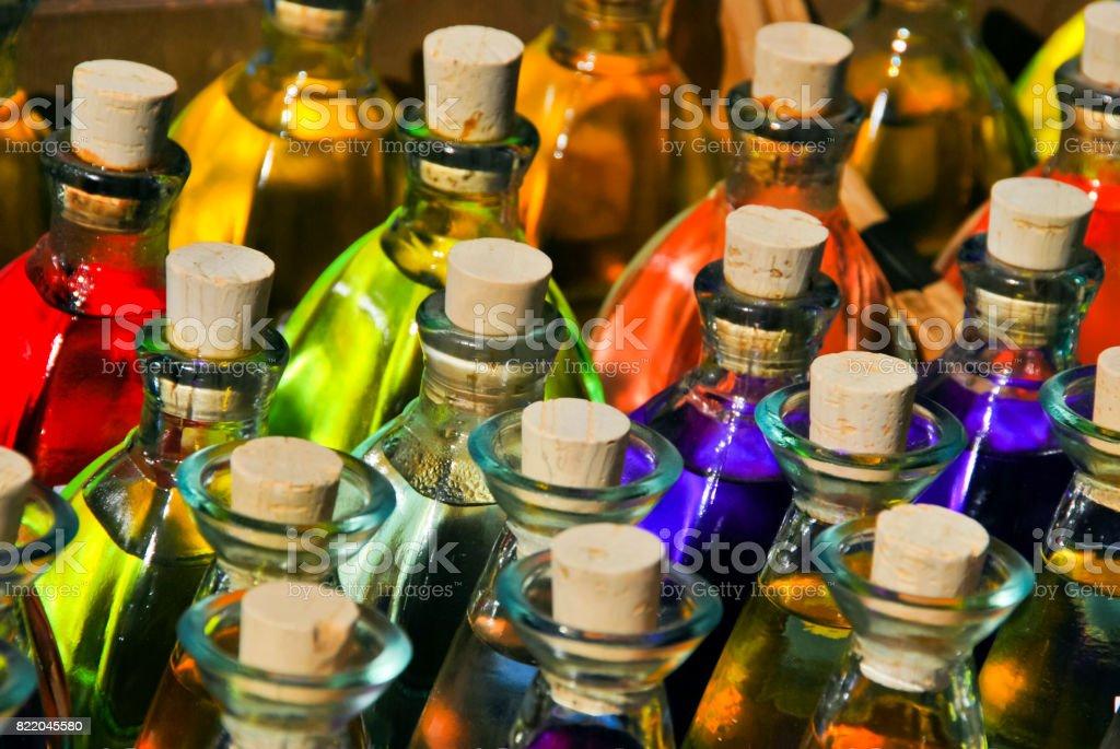 Bottles of parfum stock photo