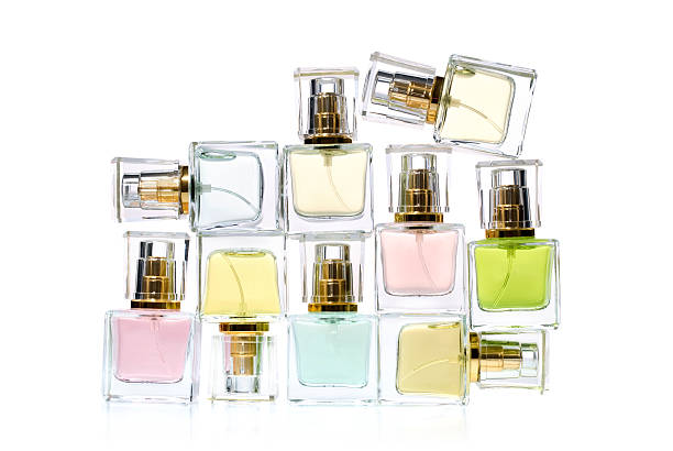 bottles of perfume - scented stock photos and pictures